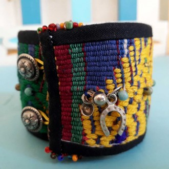 Yellow - Blue Handmade Textile Bracelet for Women