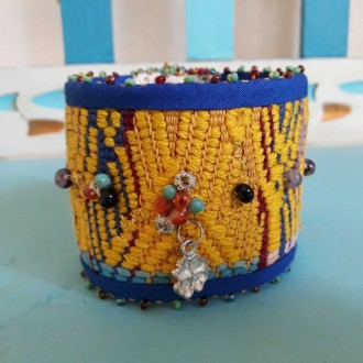 Colorful Bohemian Boho Jewelry Style, Fabric Bracelet