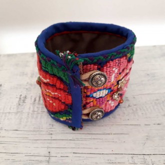 Handmade Textile Bracelet for Women, Boho Jewelry