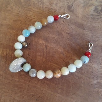 Antique Coin and Quartz Bead Handmade Bracelet